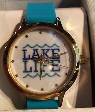Lake Life Watch Turquoise Band Gold Rim NIB Adjustable