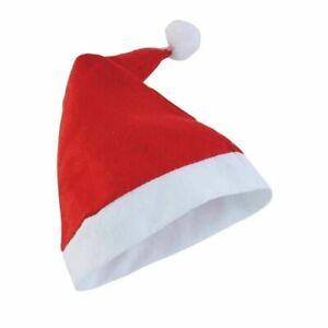 Unisex Father Christmas Hat XMAS Santa Adult Size Hat Wth White Plush Classsic
