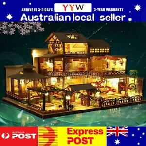 AUS Japanese LED Villa Dollhouse DIY Doll House Miniature Furniture Kit Gift