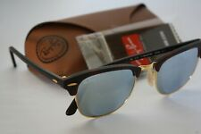 RayBan Clubmaster Brown Tortoise Gold Frame 51mm Lens Mirrored Sunglasses RB3016