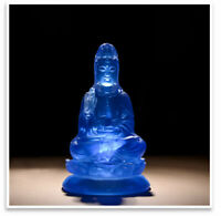 20CM Chinese Buddhism Bule Resin Kwan-yin Boddhisattva Guan Yin Buddha Statue