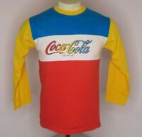 VTG 80s Coca-Cola Coke Color Block Logo Stitched 3/4 Baseball Ringer T-Shirt M/L