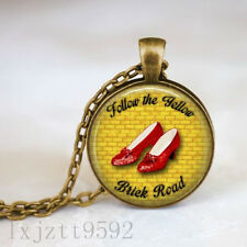 Follow the yellow brick road  Wizard of Oz Quote Necklace Dorothy Ruby Slippers