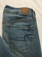 American Eagle Jeans Womens Size 6X-Long Flare Light Wash Distressed NWT