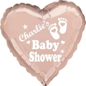 """Rose Gold Baby Shower Personalised Party Balloon 18"""" Foil"""