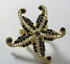 Ring Huge Star Fish Rhinestone Cluster Cocktail Fits Size 6 7 8 9 10 11 NWT T47