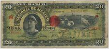 * Mexico El Banco Nacional de Mexico 20 Pesos 1908, P.S259_F/F+