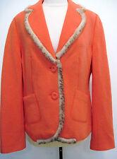 ELEGANT ESCADA APRIORI Orange 100% Wool Jacket With Fur Trim Size US 10