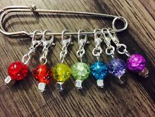 Knitting Stitch Markers Rainbow Chakra Beads Crackle Glass Beads Coloured Charms