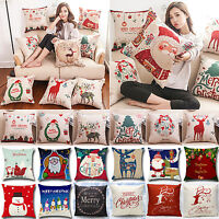 Christmas Cushion Pillows Case Cover Santa Claus Elk Sofa Throw Xmas Home Decor