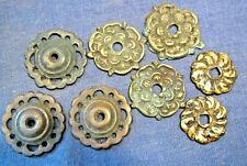 Old brass round decorative backplates   x  8  assorted