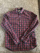 Men's J.Crew Secret Wash Shirt in Heather Poplin Green/Red Plaid Slim Medium