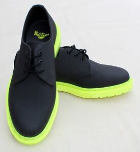 DR MARTENS Leather Shoes 1461 Black Ajax 3 Eye Air-Cushioned Neon Green Sole