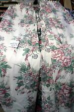 "One pair of lined snow white pink floral curtain's approx 134""w  by 47""d (each)"