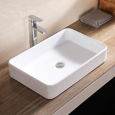 Bathroom White Porcelain Sink Bowl Vessel Basin with Pop Up Drain Rectangle