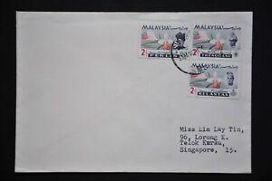 Kelantan/Trengganu/Perlis Orchid Def. 2c Stamps - SINGAPORE M5 31 JAN 67 (LC770)
