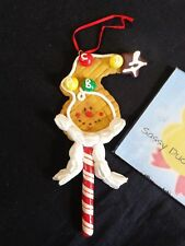 """Christmas CANDY ORNAMENT 6"""" Cookie Face on a Peppermint Stick Plastic"""