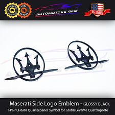 Maserati Side Logo Emblem LH&RH Glossy Black Quarterpanel Badge Sticker