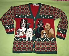 Bellepointe L Ugly Christmas Cardigan Sweater Darling Dogs & Bone Buttons Unique
