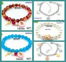 New Stainless Steel Cross Multi-color Jade Shell Pearl Bear Bracelet Bangle