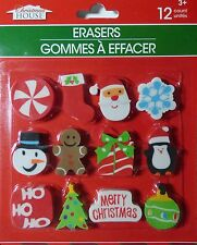 New Christmas House 12 Count Christmas Erasers Party Gift Stocking Filler