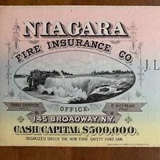 Niagara Fire Insurance Co NYC Mayer Merkel & Ottman Lith Falls color 1880s