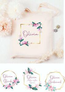 Personalised Bridesmaid Bag Canvas Bridal Custom Wedding Tote Bride Pink Rose