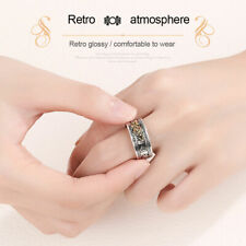 Feng Shui Pixiu Mani Mantra Protection Wealth Ring Lucky Retro Silver Male r