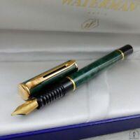 Waterman Laureat Green Marble & Gold Fountain Pen Med Pt In Box Mint Original 1*