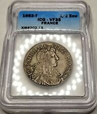 1662-T France 1/2 Ecu World Silver Coin ICG VF35 - Louis XIV