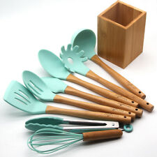 Kitchen Utensil Set - Silicone Cooking Utensils - Bamboo Kitchen Utensil Set