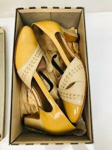Vintage Retro Ladies Heel Court Shoes Mustard Beige Leather ~ Size 6 Van Dal