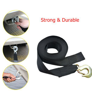 Car Boat Trailer Winch Strap 13.2'x2inch Replacement Rope Belt With Safety Hook