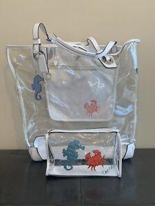 Rare Coach Seahorse Crab Beach Tote XL -with makeup bag