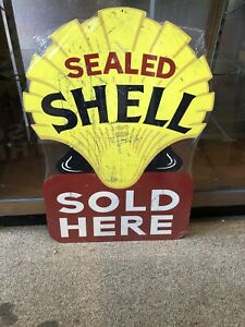 Shell Sealed Sold Here Reproduced Metal Sign Diecut