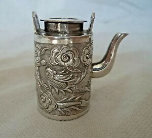 ANTIQUE c1900 MINIATURE CHINESE DRAGON SOLID SILVER TEA /  COFFEE POT WANG HING