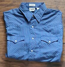 VTG LEE GREAT LOOKING WESTERN PEARL SNAP BUTTON BLUE GREEN PLAID SHIRT SZ LARGE
