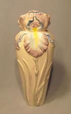 """Vintage Sigma Belle Epoque Tastesetter Ceramic Iris Flower 9 1/2"""" Vase"""