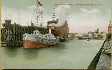 1908 Steamer Ship Boat Scene in Harbor Buffalo New York NY Postcard A28