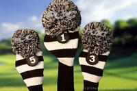 3 Pc MAJEK BLACK WHITE classic KNIT Pom Pom golf clubs Headcover Head covers set