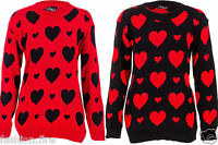 New Women Ladies Plus Size BLACK & RED Heart Design Christmas Jumper for Winter