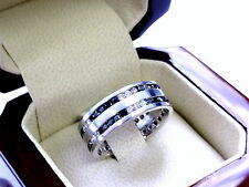 14 K White Gold  Men's  Eternity Diamond Wedding Band Ring by Sacred Angels