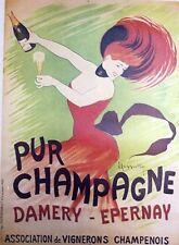 """""""PUR CHAMPAGNE"""" Affiche entoilée  (reproduction épuisée de 1978)  CAPPIELLO"""
