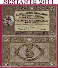 SWITZERLAND / SVIZZERA  5 FRANKEN 22.2. 1951 Sign Rossy  - P 11o - FDS / UNC