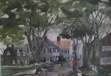 Mid Century American Impressionist Rain Washed Street New England Town Scene