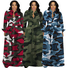 Spring Women Dresses Camouflage A Line 3XL Maxi Dress Robe Floor Length Clothing