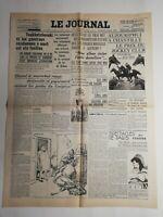 N349 La Une Du Journal Le journal 13 juin 1937 chantilly Prix du Jockey-Club