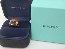 TIFFANY & CO PALOMA'S SUGAR STACK RING LARGE CITRINE 12X12 18KT YELLOW GOLD 7.5