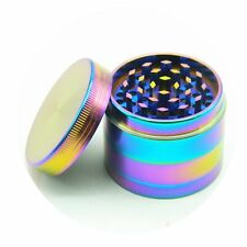 New 4 Layer 40mm Rainbow Dazzle Color Metal Herb Crusher Grinder