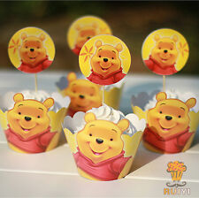 24pcs Winnie The Pooh Cupcake Cake Decor 12 Toppers 12Wraper Kids Birthday Party